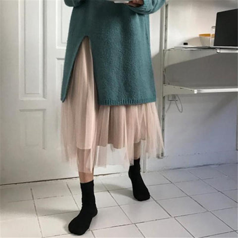 Fashion Pure Color   Slim Show Thin High Waist Pleated Grenadine Skirt
