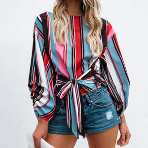 Fashion Striped Long Sleeve Belted Shirt