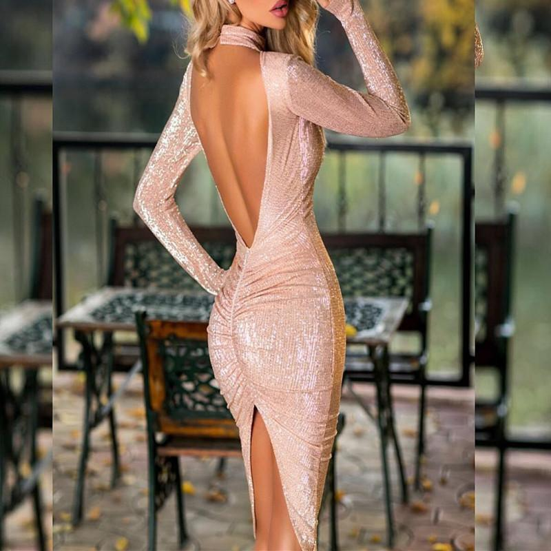 Sequined Sexy Dew Backpack Hip Dress