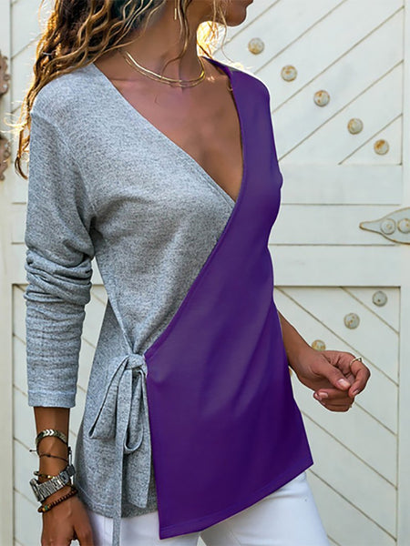 Casual V Neck Cross Bandage Long Sleeve Knitwear
