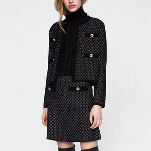 Casual Rhombic Jacquard Knitted Coat