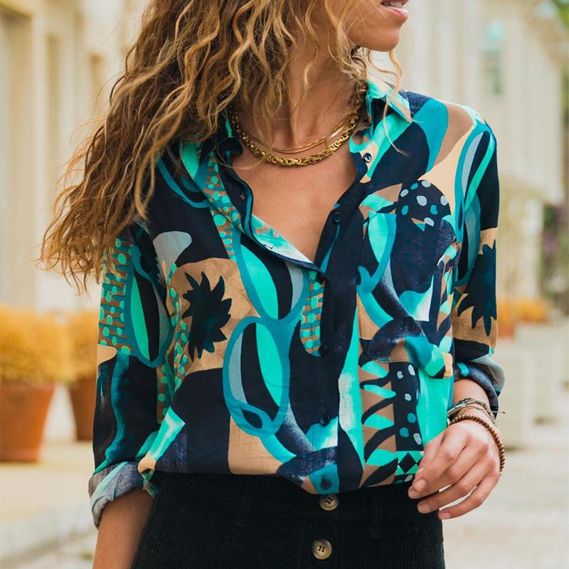 Vintage Printed Colour Turndown Collar Loose Shirt
