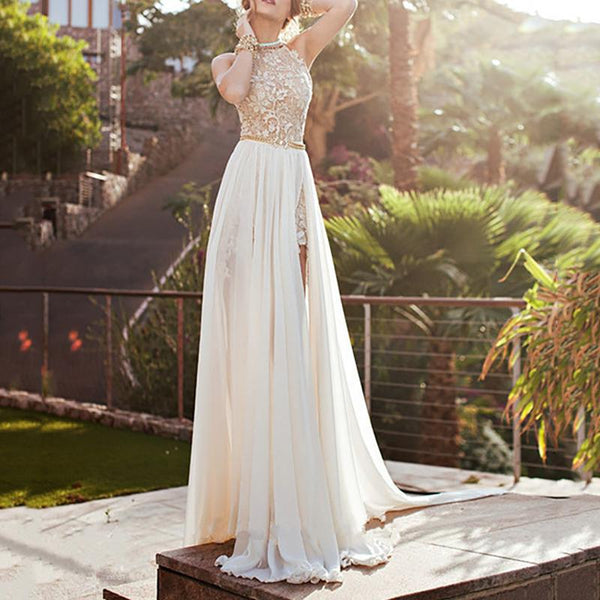 Fashion Halter Bare Back Sleeveless Maxi Dresses