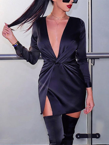 Sexy Deep V Pleated Slit Long Sleeve Bodycon Dresses
