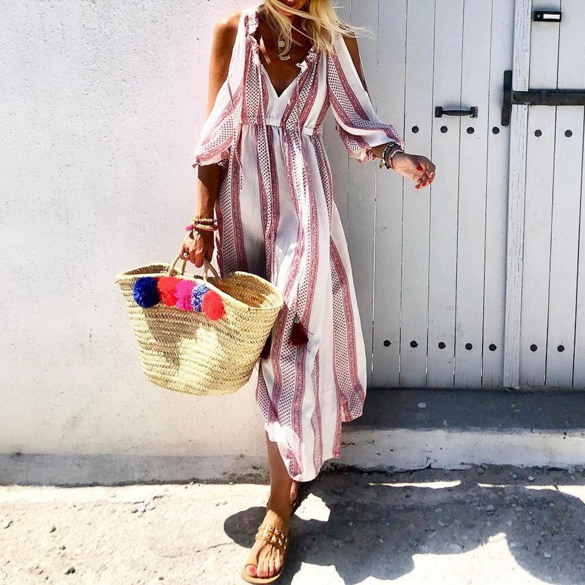 Off Shoulder Short Sleeve Stripe Print Maxi Dress