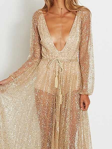 Fashion Long Sleeve V Neck Shining Maxi Dresses