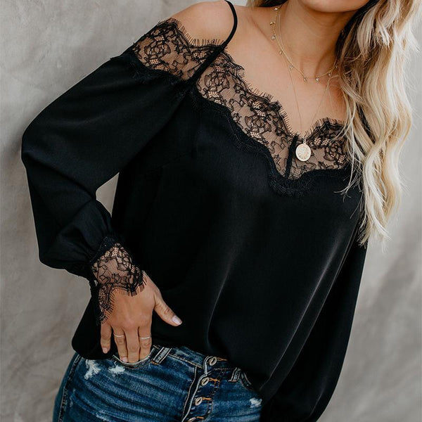 Fashion Off-Shoulder Long Sleeve Chiffon Shirt