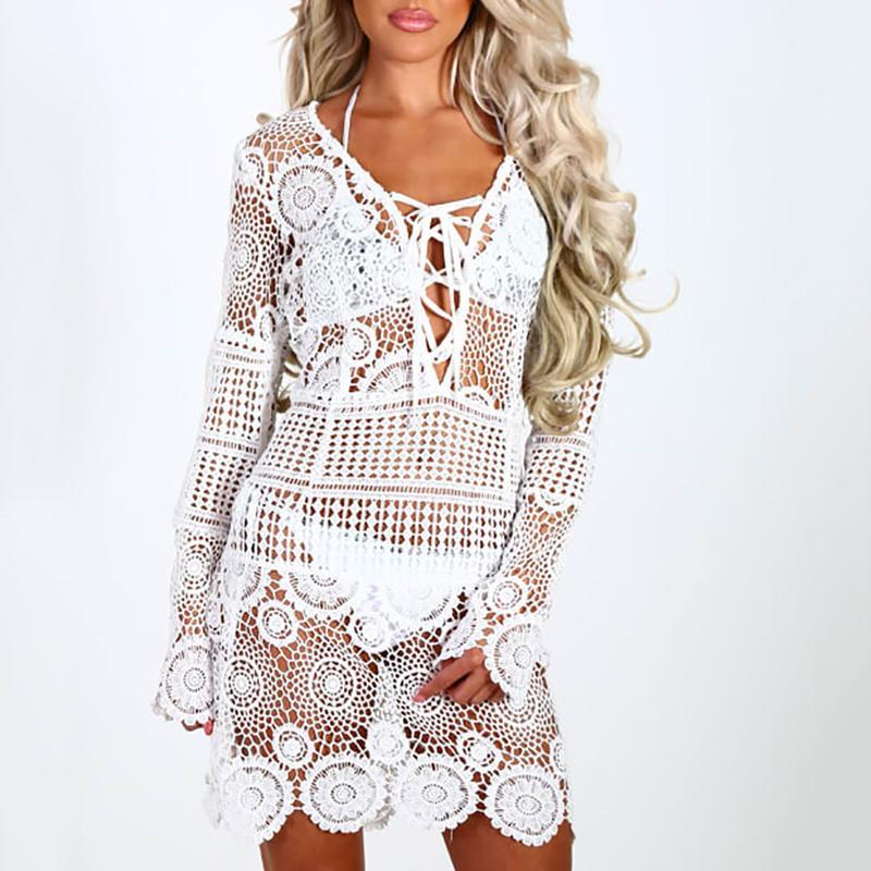 Sexy Hollow Out Lace Belted Long Sleeve Blouse