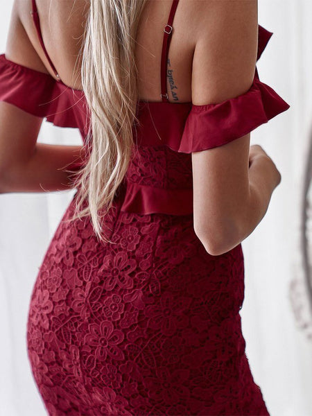 Casual Irregular Lace Pure Colour Sling Bodycon Dresses