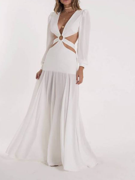 Sexy V Neck Belted Pure Colour Long Sleeve Maxi Dresses