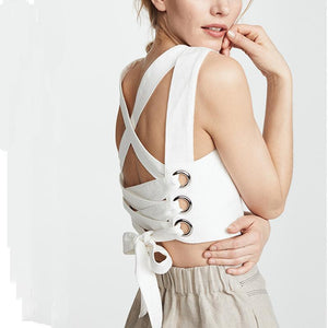 Fashion Sleeveless Back Cross Strap Vest