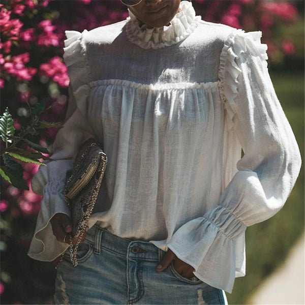 Casual Pure Color Long   Sleeve Chiffon Shirt Blouse