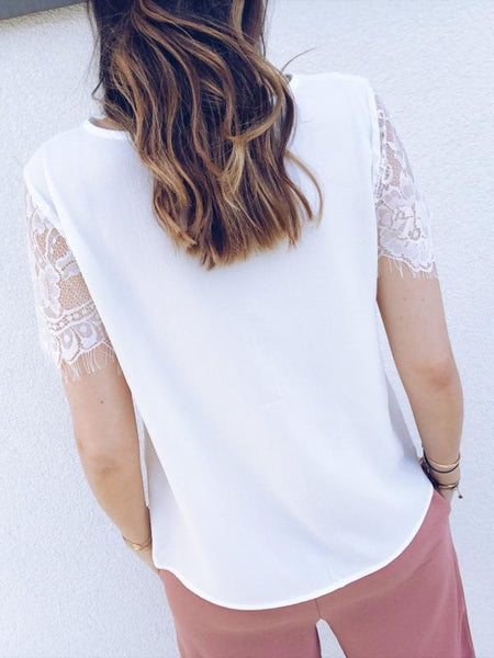 Casual V Neck Lace Pure Colour Short Sleeve T-Shirt