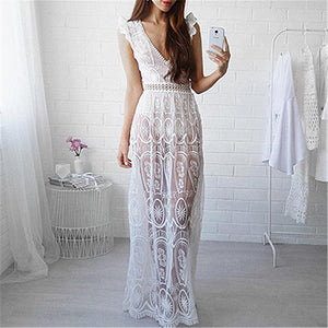 Sexy Backless Deep V Lace Dress