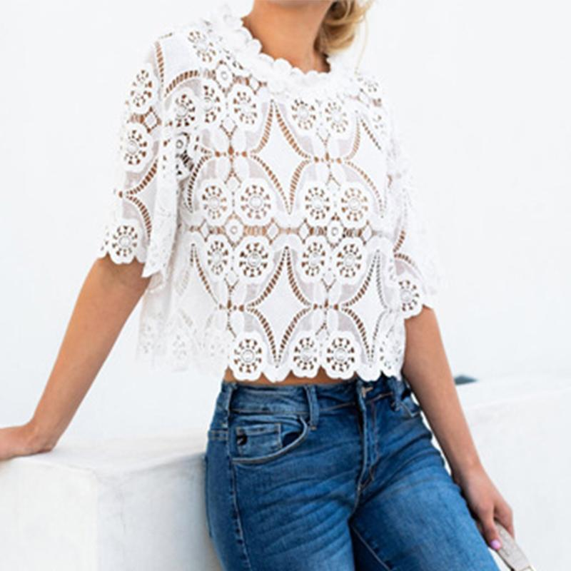 Fashion Lace Hollow Out Round Neck Half Sleeve Loose Blouse