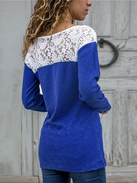 Fashion Round Neck Lace Splicing T-Shirt