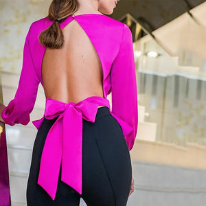 Fashion Bare Back Pure Colour Belted Blouse