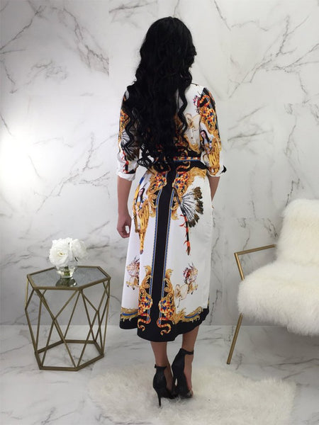 Casual Deep V National Style Printed Colour Dresses