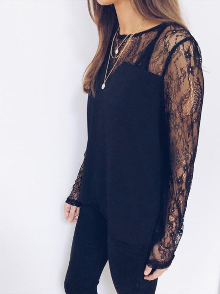 Sexy Lace Long Sleeve Splicing Pure Colour Shirt