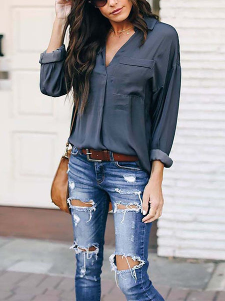 Casual Irregular V Neck Long Sleeve Pure Colour Shirt