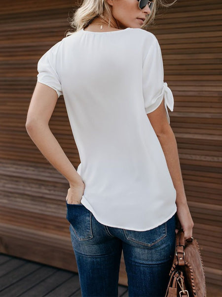 Fashion Short Sleeve Cross Collar Pure Colour T-Shirt