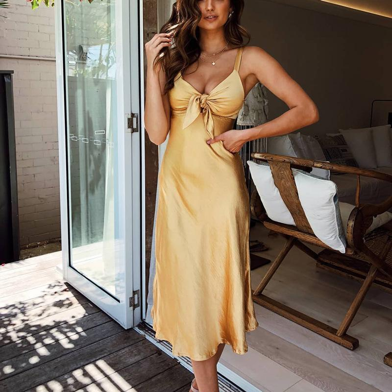 Fashion Slim Pure Colour Splicing Maxi Dresses