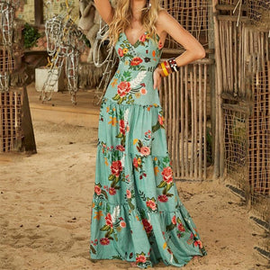 Sexy V Neck Sling Printed Colour Maxi Dresses