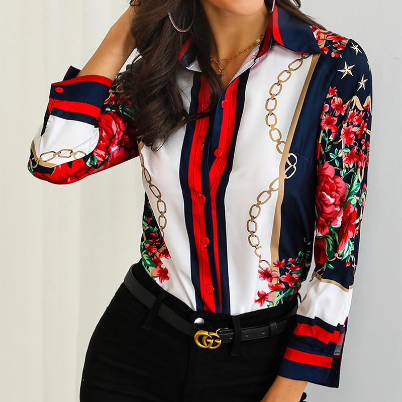 Fashion Chain Flower Printed Colour Long Sleeve Shirt