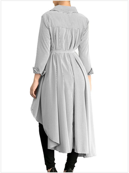 Casual Irregular Striped Long Sleeve Dovetail Dresses
