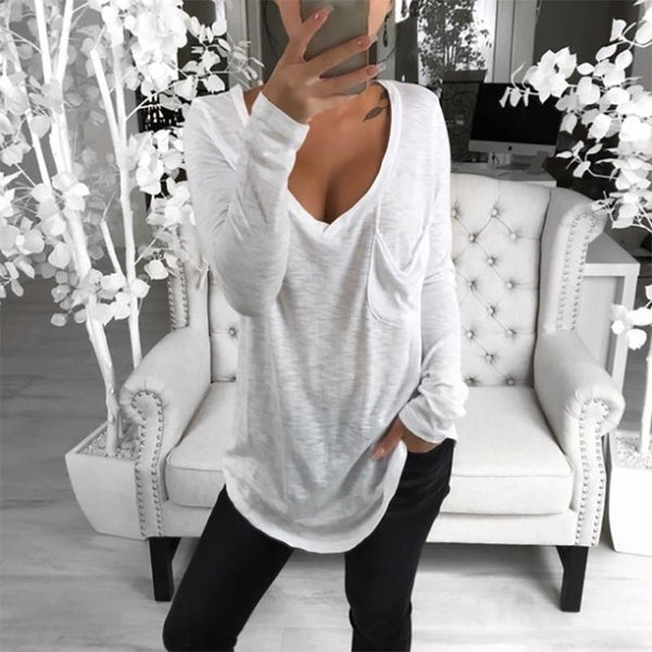 Fashion V Neck Loose Long Sleeve T-Shirt