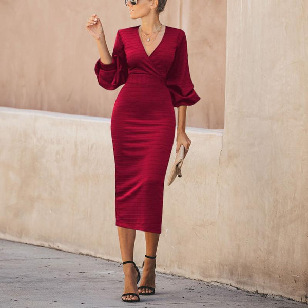 Casual Bishop Sleeve Sexy Deep V Neck Slim Maxi Dresses