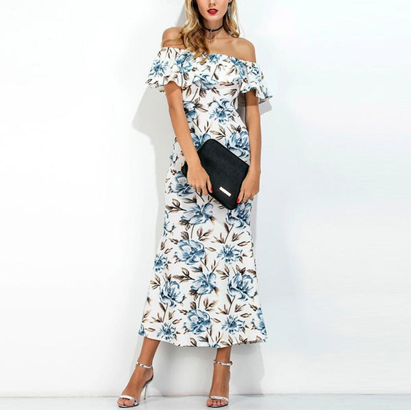 Bohemian Printed Colour Off-Shoulder Casual Dresses