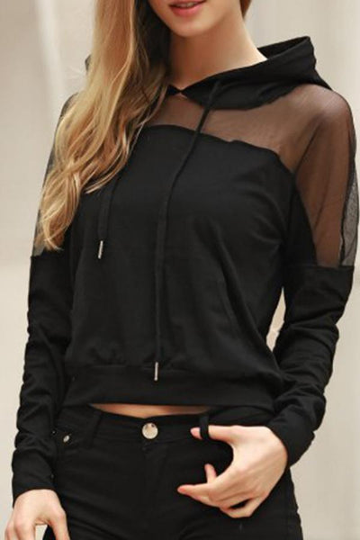 Hooded  Decorative Lace Plain Hoodies