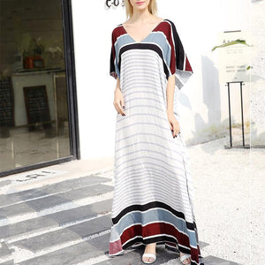 Casual V Neck Loose Striped Robe Maxi Dresses