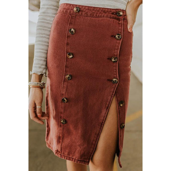 Casual Slit Slim Pure Colour Waist Double-Breasted Skirt