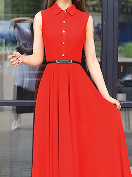 Fashion Shirt Collar Pure Colour Sleeveless Maxi Dresses