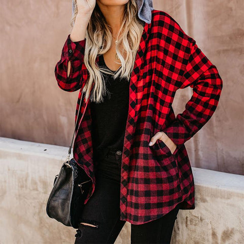 Fashion Plaid With Hat Long Sleeve Shirt Outerwear