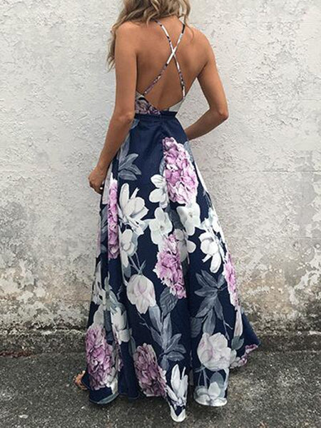 Sexy Deep V Printed Colour Sling Maxi Dresses