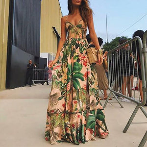 Fashion V Neck Sling Printed Colour Maxi Dresses