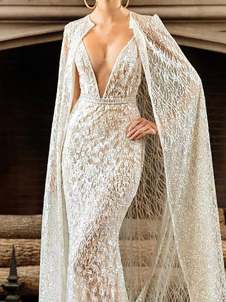 Sexy Deep V Linear Pattern Cloak Evening Dress