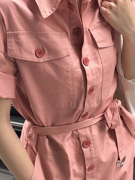 Fashion Pure Colour Short Sleeve Short Jumpsuits