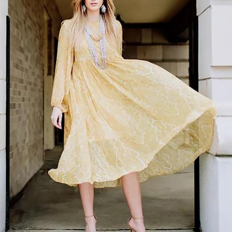 Bohemian Loose Pure Colour Long Sleeve Maxi Dresses