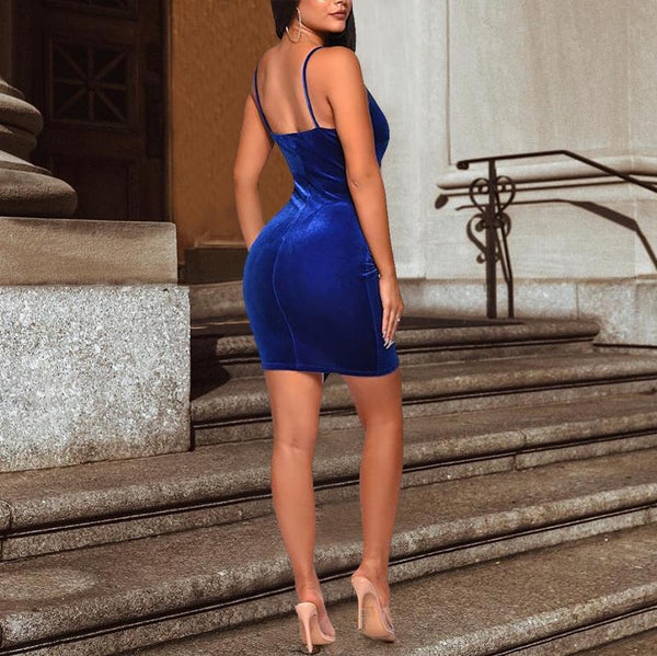 Sexy Deep V Velvet Pure Colour Sling Bodycon Dresses