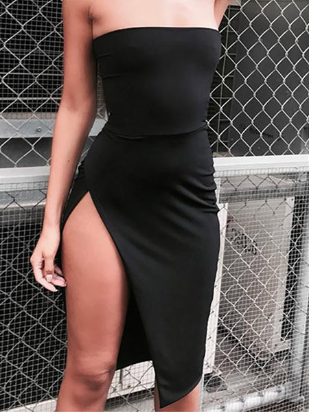 Sexy Wrap Chest Pure Colour Irregular Slit  Dresses