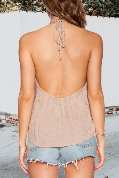 Deep V Neck  Backless  Plain Camis