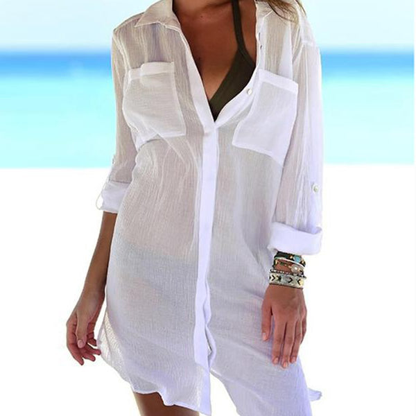 Turn Down Collar  Patch Pocket See-Through  Two Way  Roll-Up Sleeve Kimono