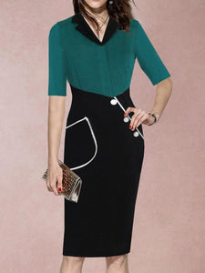 V-Neck  Patch Pocket  Decorative Button  Color Block Bodycon Dress