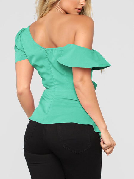 Sexy Sloping Shoulder Pure Colour Irregular Shirt