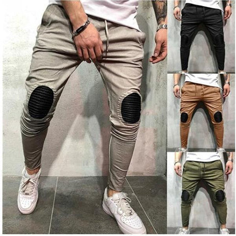 Men's Hip Hop Style Patch Slim Casual Pants