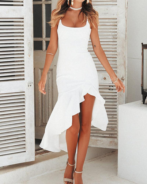 Spaghetti Strap  Curved Hem  Plain Shift Dresses